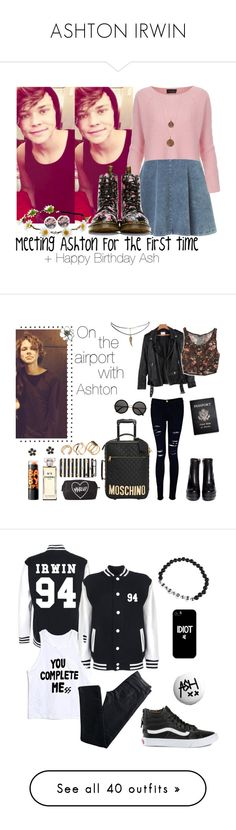 """""""ASHTON IRWIN"""" by stromwick1235 ❤ liked on Polyvore featuring Topshop, Bee Charming, Dr. Martens, ASOS, Moschino, Forever 21, Sonix, Frame Denim, Chanel and ALDO"""