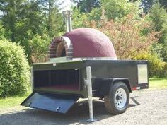 Wood fired brick oven trailer.   44 inch oven mounted on a 6 x 8 trailer with a 5200 lb brake axle.   Weights 3900 lbs , fully insulated including floor. stucco finish color of your choice.   Customize it with your logo and signage.     Cooks a 14 inch pizza in 70 seconds!     We can make any size oven trailer including a 6 X 15 trailer with a open storage area up front for your rolling refrigerator and prep tables.     Need a UL oven? Please inquire.     WWW.GOTWOODPIZZA.COM