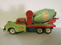 Old Tin 1950's SSS CONCRETE MIXER *Vintage Japan Toy Cement Truck