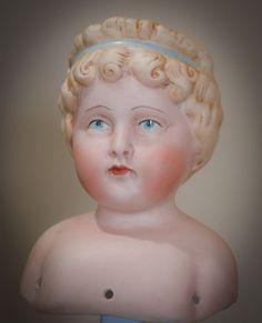 Reproduction Antique  Bisque Doll Head Blonde