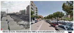 Obras en la Av. Electricidad año 1980 y en la actualidad Av. Catalunya