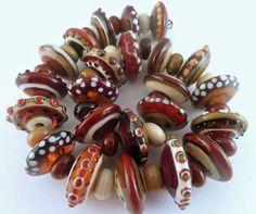 PT Handmade Lampwork Glass Beads Earthtone Disks Browns Caramel Red Earth SRA  #SRAOOAKHandmadeLampwork #Lampwork