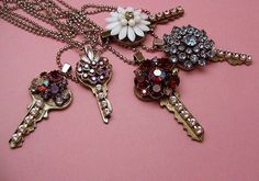 Love, Love, Love these sparkly & playful necklaces.   I wish had an old key from my childhood home to make one of these necklaces out of – what a great keepsake.  Won't these would make awesome gifts for so many different occasions, for example, the college graduate – the key to the rest of their life? Anniversary, Valentines Day, Sweet Sixteen?