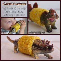 DIY Dinosaur Corn Cobb Holder - make these in dragons for Simone.