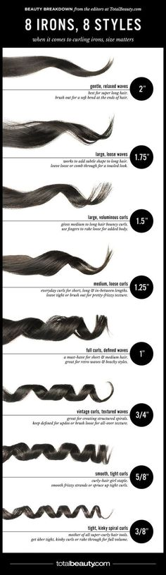 "8 Curling Iron Reference.....I like to curl my hair with a 1"" curling iron even though I have pretty long hair and it's ideal for medium hair. Would like to try thicker irons. Worth a try. I love curls."