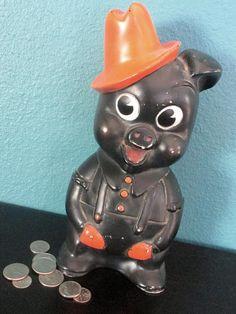Vintage Piggy Bank Rare Black Farmer Pig or Cowboy Coin Bank Pennies From Heaven, Finding Treasure, Old Toys, Vintage Love, Handmade Toys, Piggy Bank, Squirrel, Farmer, Nursery Decor