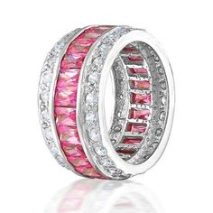 Bling Jewelry Sterling Silver Channel Set Pink CZ Wide Eternity Ring