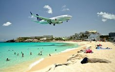 St. Maarten .. At this beach the planes pass right over your head!!!