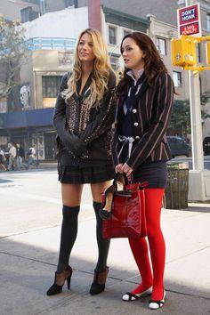 Blake Lively and Leighton Meester red tights pinstripe blazer knee socks embellished blazer oxford heels