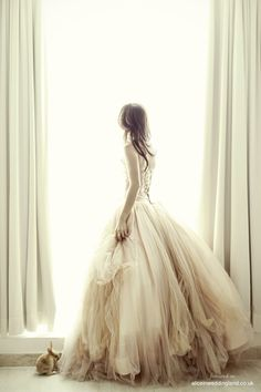 2014 Back Strappy Ombre Wedding Dress, Champagne Tulle Wedding Gown lloovvee the bottom of this Pretty Dresses, Beautiful Dresses, Gorgeous Dress, Beautiful Flowers, Delicate Wedding Dress, Ethereal Wedding, Beige Wedding Dress, Ivory Wedding, The Bride