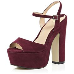 d58bfdd6502e7b River Island Dark red suede platform heels ( 110) ❤ liked on Polyvore  featuring shoes