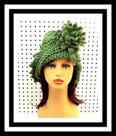 Crochet Hat Womens Hat Womens Crochet Hat Cloche Hat Crochet Flower Light Sage Green Hat LAUREN Cloche Hat Formal Hat  by strawberrycouture by #strawberrycouture on #Etsy