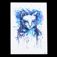 1pc Beauty Blue Colored Drawing Cat Picture Design Tatoo HB235 Waterproof Temporary Tattoo for Women Body Arm Art Tattoo Sticker-in Temporary Tattoos from Health & Beauty on Aliexpress.com | Alibaba Group
