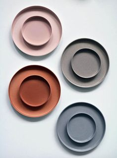 35 Designers We Loved at Dutch Design Week 2018 - Sight Unseen - ceramic plates and bowls, stoneware, modern neutrals color palette, wedding reception inspiration, - Dusty Blue, Ceramic Plates, Ceramic Pottery, Slab Pottery, Thrown Pottery, Ceramic Art, Teller Set, Neutral Colour Palette, Colour Palettes
