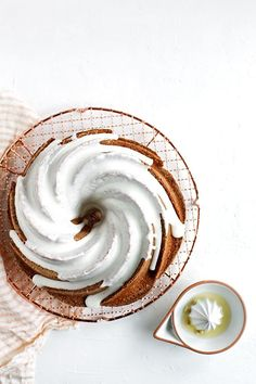 meyer lemon and vanilla pound cake with sour cream icing