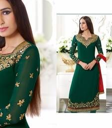 Buy Green georgette embroidered semi stitiched salwar with dupatta party-wear-salwar-kameez online