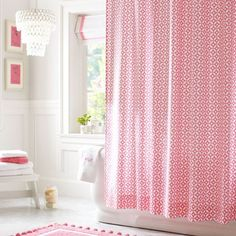 One of the most popular colors for bathroom curtains is pink curtain. Accenting the bathroom with a shower pink curtain lends a touch of indulgence. Bathroom Window Curtains, Ruffle Shower Curtains, Pink Curtains, Window Curtain Designs, Contemporary Shower, Teen Bedding, Furniture Decor, Pbteen, Bathrooms