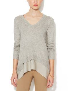 Silk-Cashmere V-Neck Sweater with Chiffon Trim by Firth at Gilt