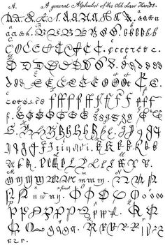Old Law Hands, Large Version - 1776 guide to old handwritten legal documents for the Inner Temple Les images impressionnantes de di - Hand Lettering Alphabet, Calligraphy Alphabet, Script Lettering, Calligraphy Fonts, Typography Letters, Caligraphy, Penmanship, Script Alphabet, Graffiti Lettering