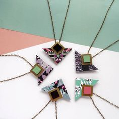 Geometric Triangle And Square Necklace by Mica Peet