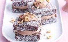 Hazelnut cream lamingtons recipe - By recipes+ Apple Recipes, Sweet Recipes, Baking Recipes, Dessert Recipes, Mini Desserts, Tea Cakes, Mini Cakes, Cupcakes, Lamingtons Recipe