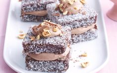 Hazelnut Cream Lamingtons - cream, Nutella, hazelnuts, own lammington recipe