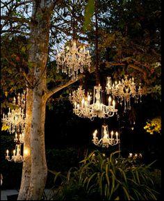 Imagine chandeliers like these lighting up your bride's outdoor evening wedding