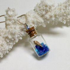 Terrarium Necklace, Nature Pendant, Bottle Pendant, Mini Bottle Necklace, Glass Vial Necklace, Beach In Bottle, Gold Blue Crystals in Bottle by SapphireIsland on Etsy