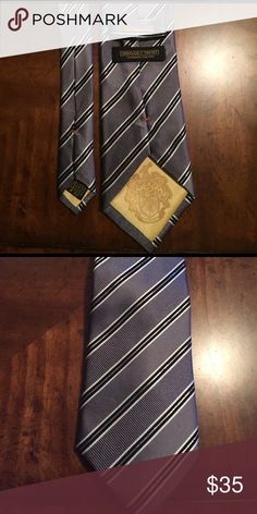Donald J. Trump Tie Signature Collection Silver and black diagonal stripe Donald J. Trump Accessories Ties