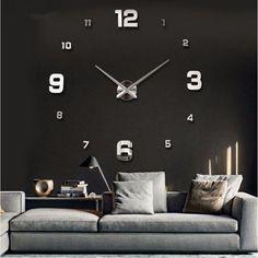 New Wall Clock Clocks Watch Horloge Murale Diy Acrylic Mirror sticker Large H Wall Clock Brands, Big Wall Clocks, Mirror Wall Clock, 3d Mirror, Acrylic Mirror, Metal Mirror, Diy Sticker, Wall Clock Sticker, Wall Stickers Unique