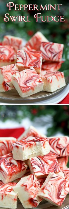 Swirled Peppermint Fudge - white chocolate fudge with a peppermint flavor! Super easy, and great for gifts! | From candy.about.com