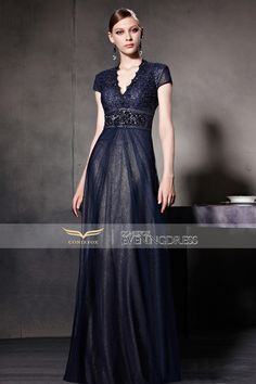 New Blue Low V Neck Cap Sleeve Empire Waist Evening Dress 81560 #promdress