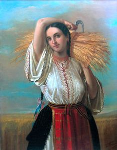 Gheorghe Tattarescu, Peasant woman from Vlasca Renoir, Folk Costume, Costumes, Henri Matisse, Romanian Women, Ukrainian Art, Krishna Painting, Biblical Art, Folk Embroidery