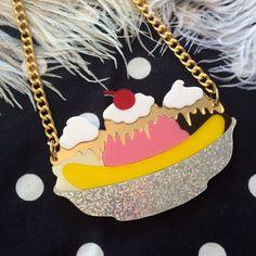 Banana Split Sundae Acrylic Necklace by imyourpresent on Etsy