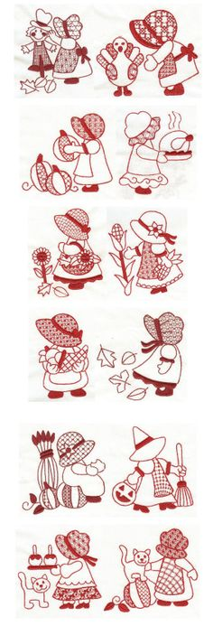 Embroidery | Free machine embroidery designs | Harvest Time Sunbonnet Sue Redwork