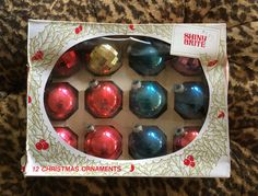 Shiny Brite Ornaments Christmas Glass 12 Aqua Red Gold Purple Faceted Vintage In Box by LipstickLounge on Etsy
