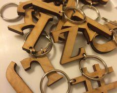 Wood Monogram Initial Key Chain