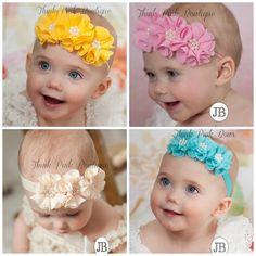 U CHOOSE COLOR baby headbands,Newborn Headband,Baby Headband, Flower Headband, Easter Headband,pink  yellow turquoise Ivory baby headband,38