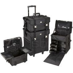 2 in 1 Black Fabric Rolling Makeup Case Set with Drawers