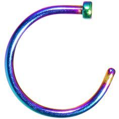 "20 Gauge 3/8"" Rainbow Anodized Titanium Nose Hoop | Body Candy Body Jewelry"