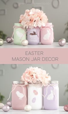 More Easter Mason Jar Decor - KA Styles to do when bored crafts jar crafts crafts Mason Jar Crafts, Mason Jar Diy, Bottle Crafts, Diy Projects Easter, Easter Crafts, Diy Ostern, Diy Easter Decorations, Decorated Jars, Painted Mason Jars