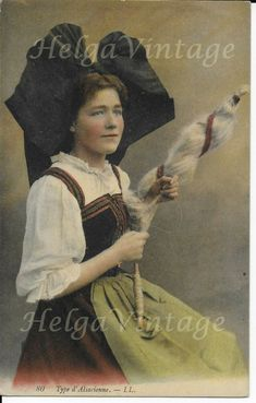 Antique French tinted postcard Type d' Alsacienne/Alsatian spinning woman 1910s' Photo Postcards, French Antiques, Vintage Photos, Egypt, Real Life, Ethnic, France, Women, Vintage Photography