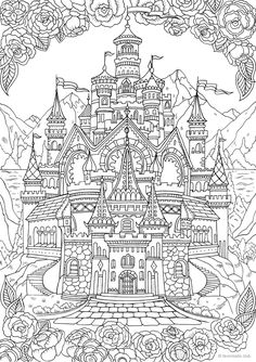 Castle - Printable Adult Coloring Page from Favore. Castle – Printable Adult Coloring Page from Favoreads (Coloring book pages for adults and kids, Colo Printable Adult Coloring Pages, Disney Coloring Pages, Free Coloring Pages, Coloring Books, Kids Coloring, Colouring Pages For Adults, Castle Coloring Page, Fairy Tales, Hand Drawn