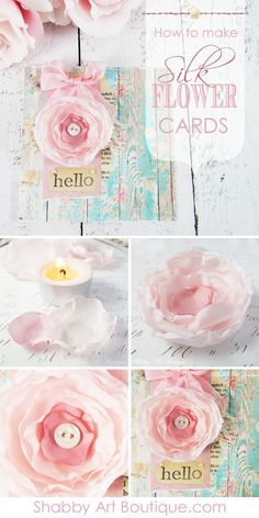 How to make handmade silk flowers cards tutorial by Shabby Art Boutique