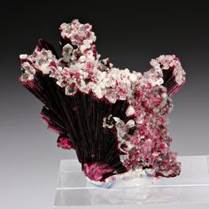 Erythrite with Quartz; Bou Azzer District, Morocco
