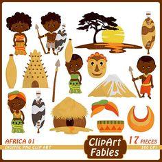 Africa clipart Zulu Tribe DIgital Clip Art African culture