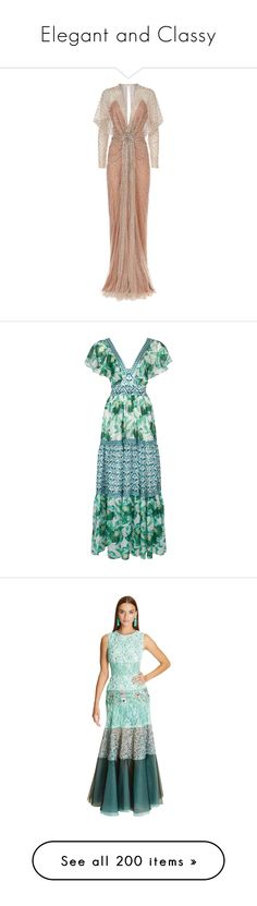"""""""Elegant and Classy"""" by esmeralda-rose-1 ❤ liked on Polyvore featuring dresses, gowns, jenny packham, beaded dress, embellished gown, sequin evening gowns, sequin gown, beaded gown, green evening gown and chiffon dress"""