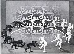 M.C. Escher, The Encounter, May 1944, lithograph, Metropolitan Museum of Art. #Art
