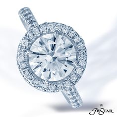 JB Star 1.73ct Round diamond engagement ring with pave in halo setting.