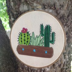 Succulent and cactus embroidery hoop wall art by Texemala on Etsy